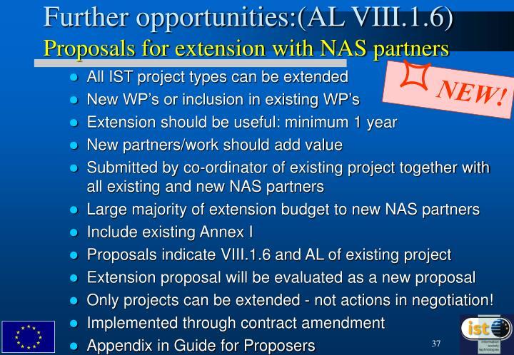 Further opportunities:(AL VIII.1.6)
