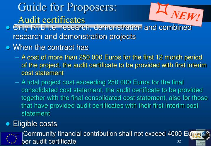 Guide for Proposers: