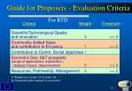 guide for proposers evaluation criteria