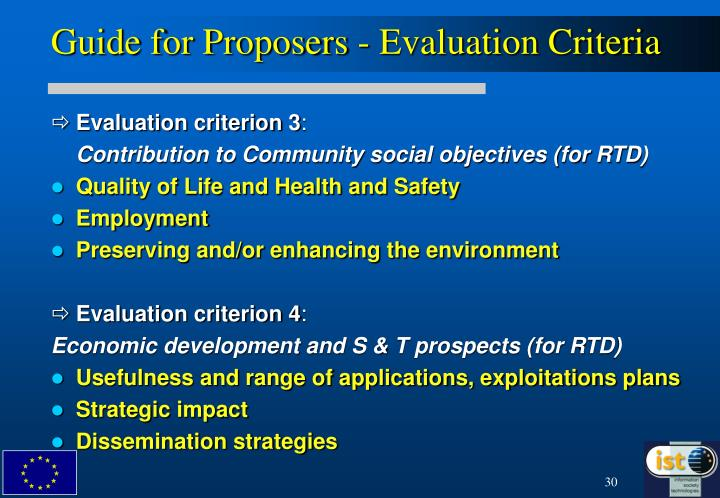 Guide for Proposers - Evaluation Criteria