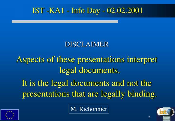 IST -KA1 - Info Day - 02.02.2001