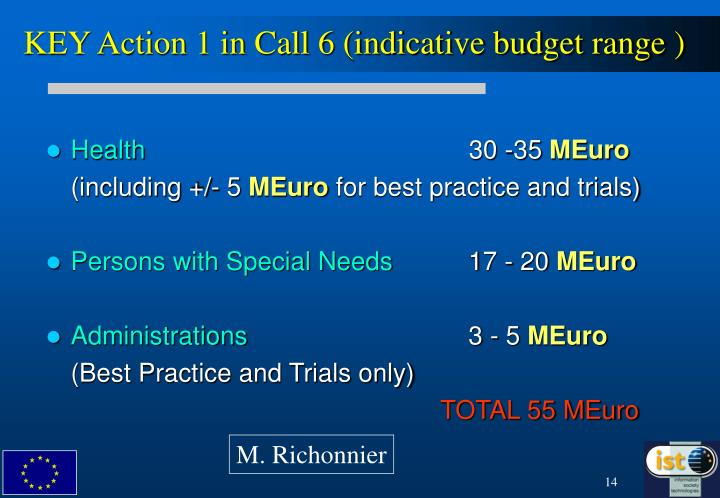 KEY Action 1 in Call 6 (indicative budget range )