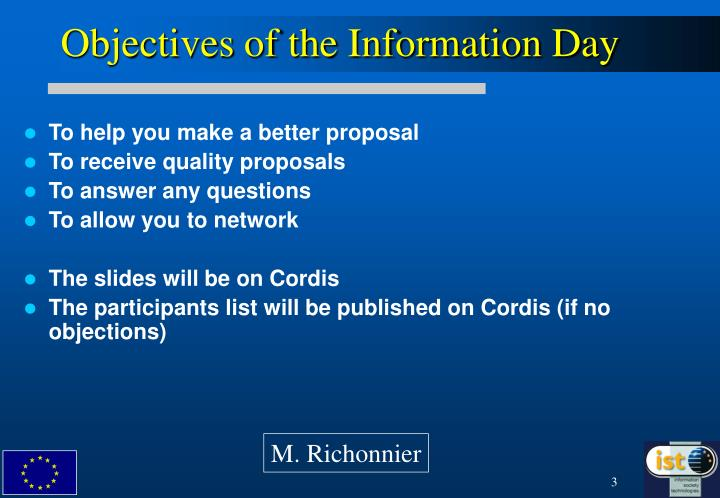 Objectives of the Information Day