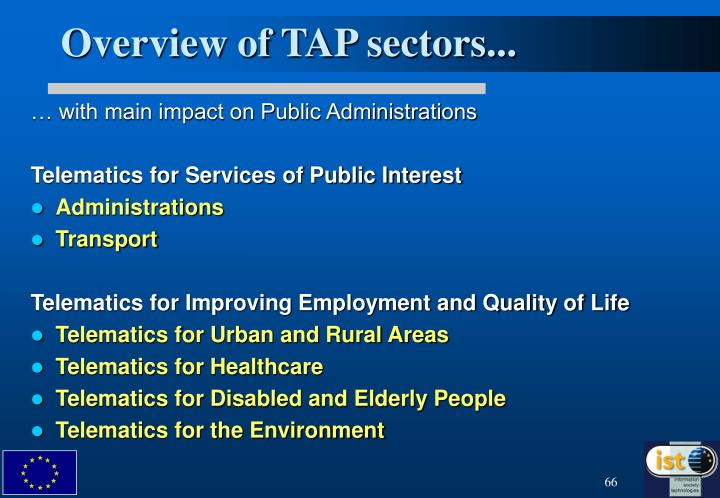 Overview of TAP sectors...