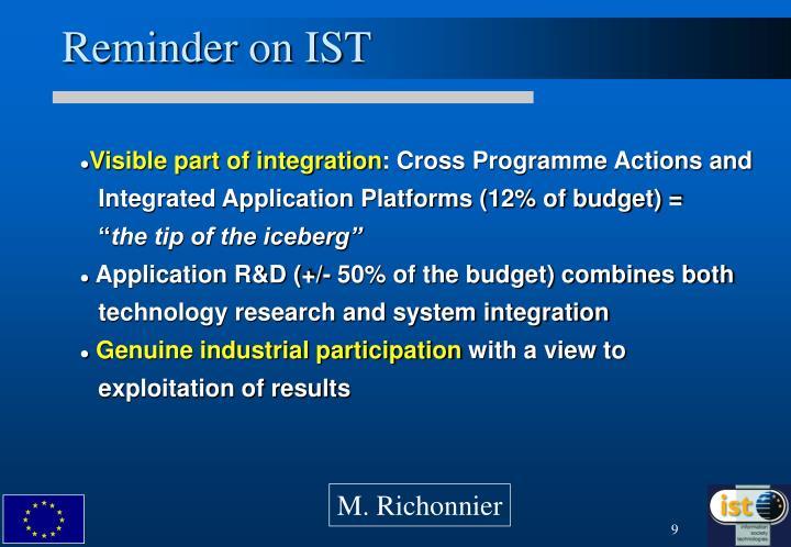 Reminder on IST
