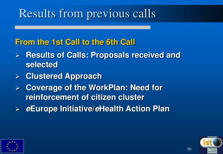 Results from previous calls