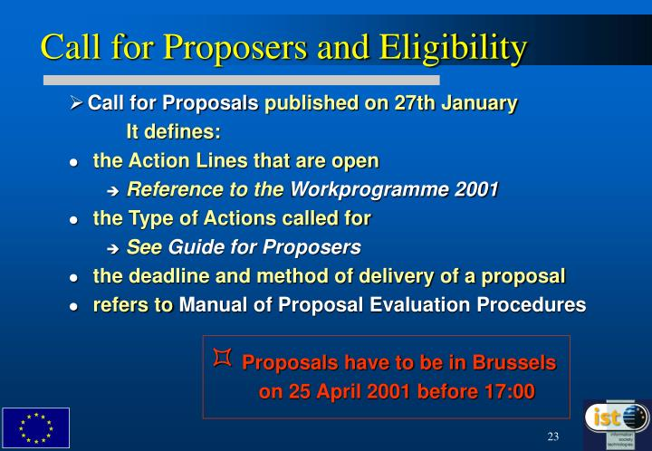 Call for Proposers and Eligibility