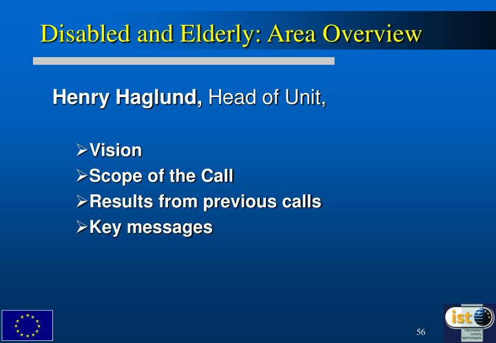 Disabled and Elderly: Area Overview