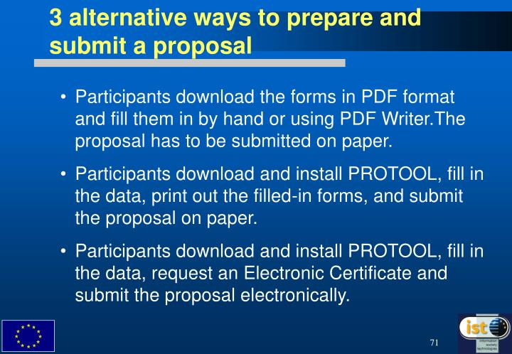 3 alternative ways to prepare and submit a proposal