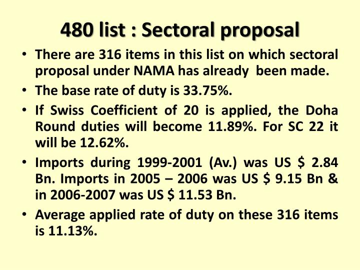 480 list : Sectoral proposal