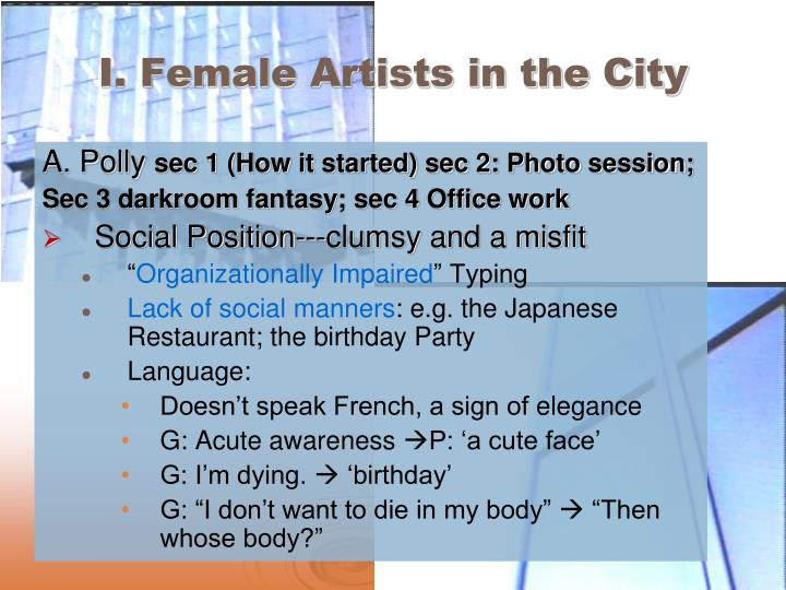I. Female Artists in the City
