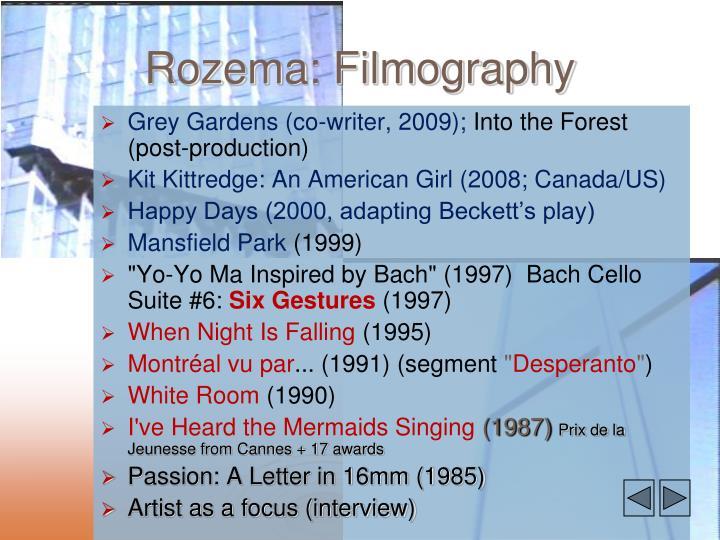Rozema: Filmography