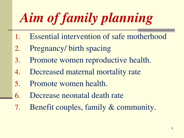 Aim of family planning