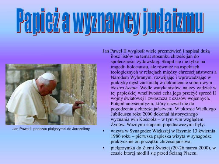 Papież a wyznawcy judaizmu