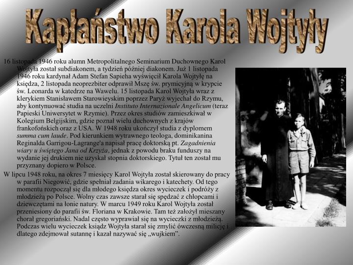 Kapłaństwo Karola Wojtyły