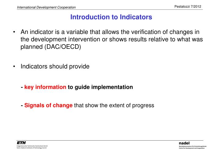 Introduction to Indicators