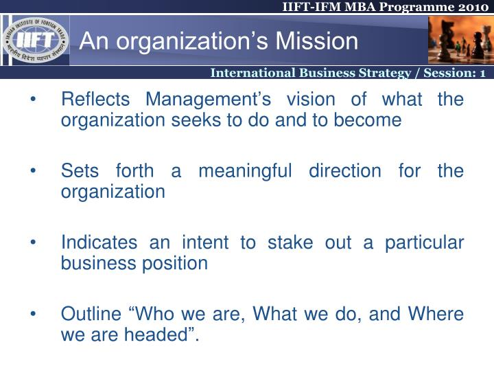 An organization's Mission