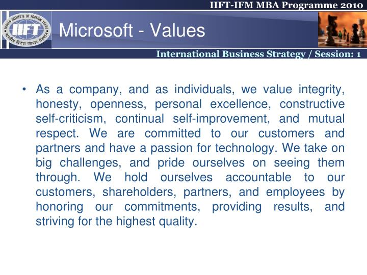 Microsoft - Values