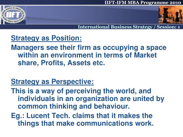 Strategy as Position: