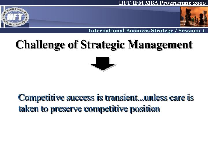 Challenge of Strategic Management