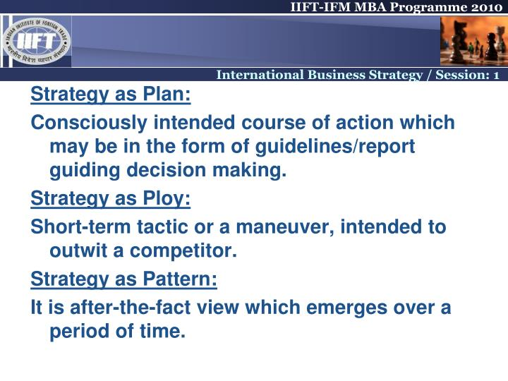 Strategy as Plan: