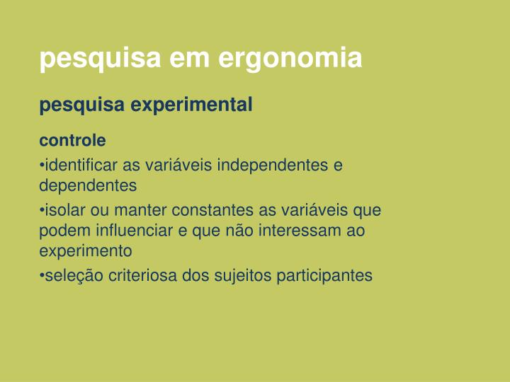 pesquisa em ergonomia