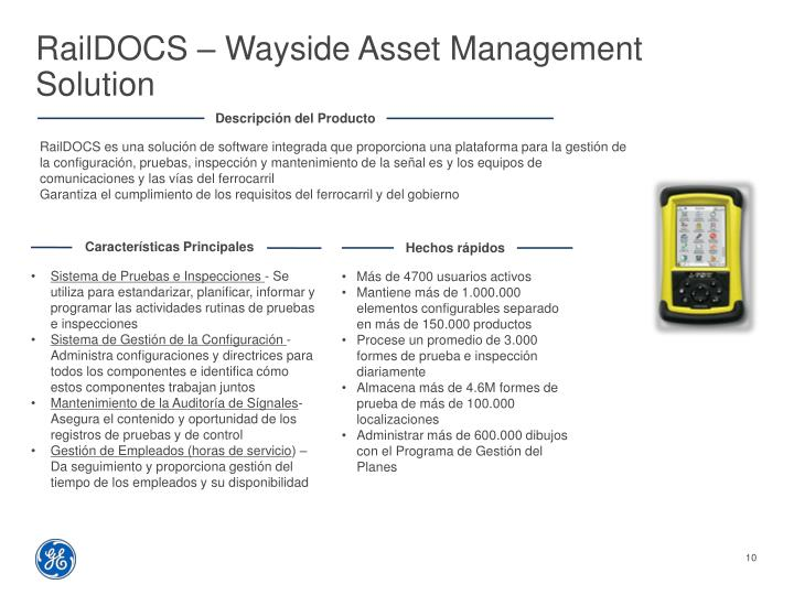 RailDOCS – Wayside Asset Management Solution