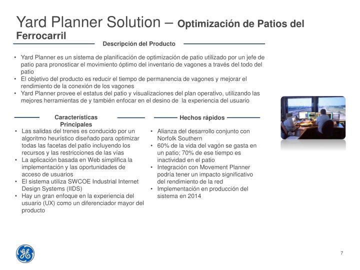 Yard Planner Solution –