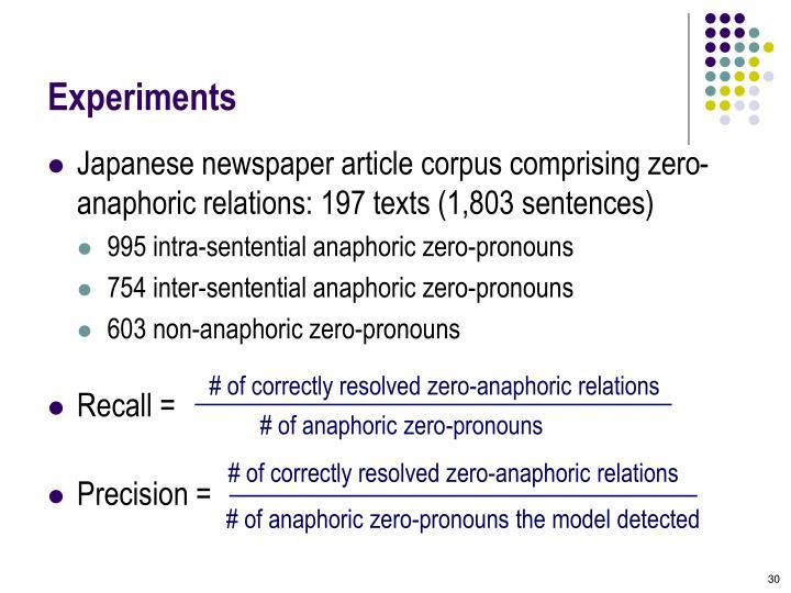 # of correctly resolved zero-anaphoric relations