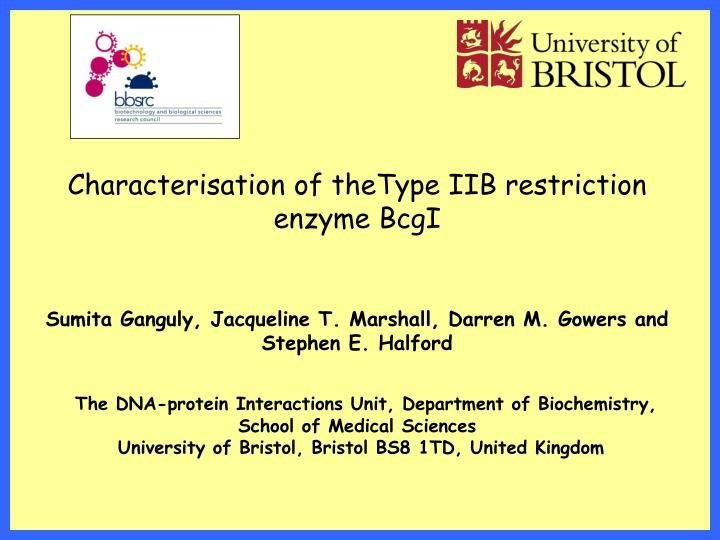 Characterisation of theType IIB restriction enzyme BcgI