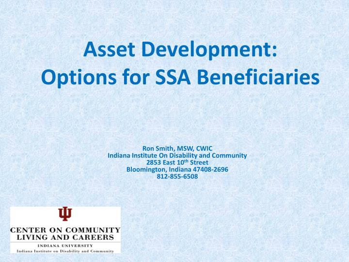 Asset Development:
