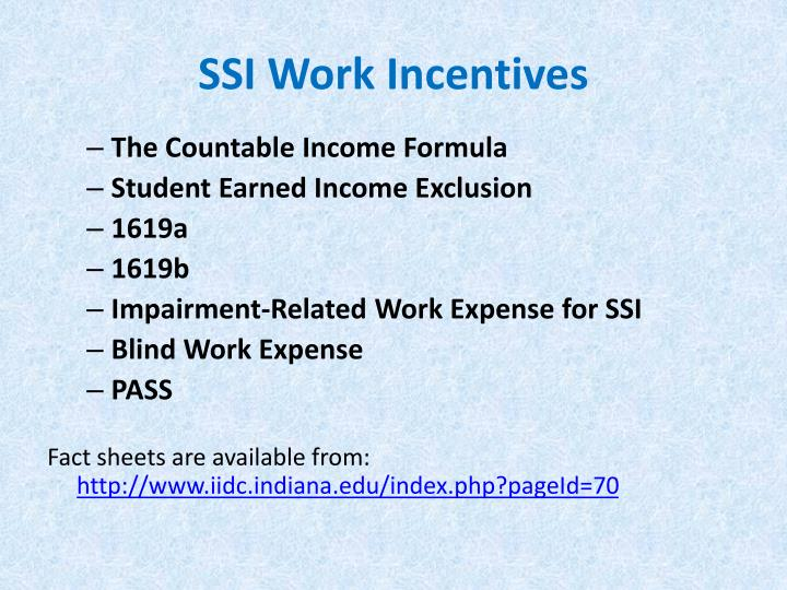 SSI Work Incentives