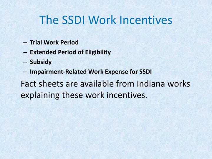 The SSDI Work Incentives