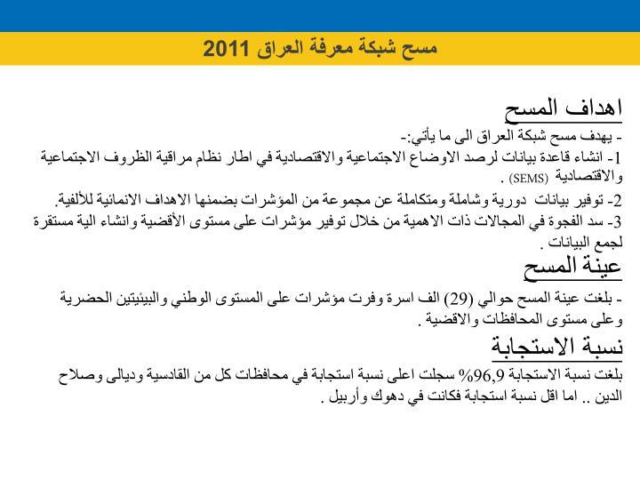 مسح شبكة معرفة العراق 2011