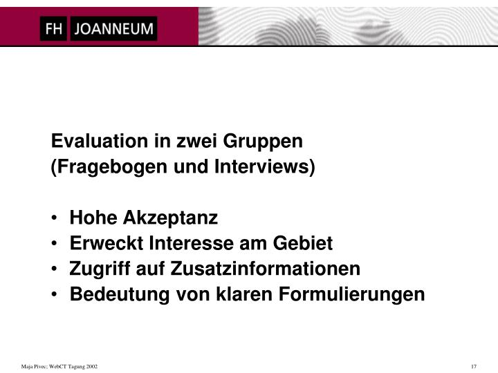 Evaluation in zwei Gruppen