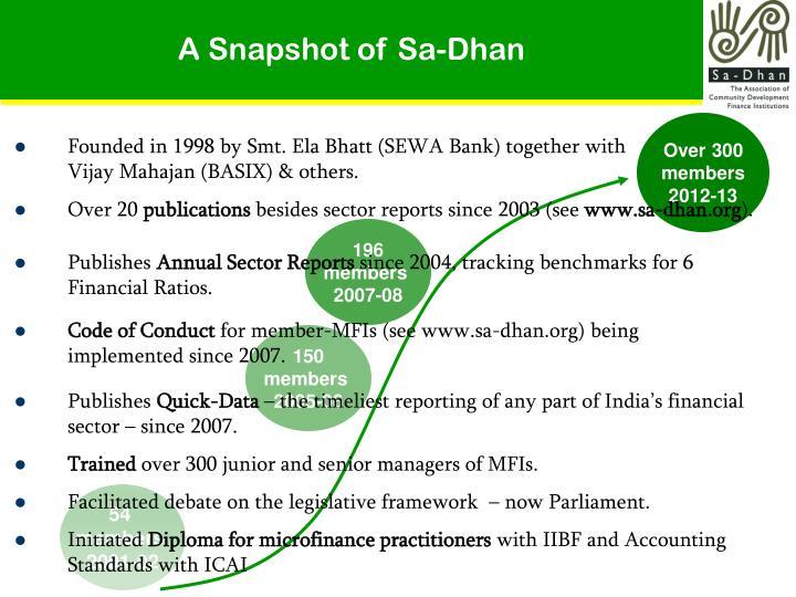 A Snapshot of Sa-Dhan