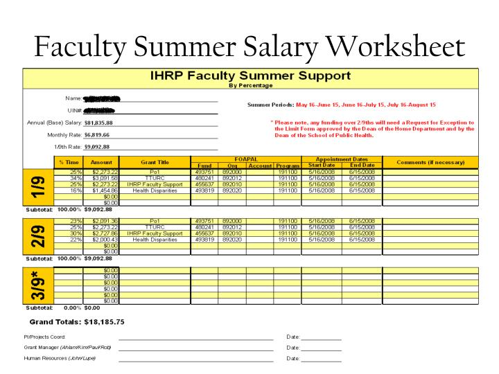Faculty Summer Salary Worksheet