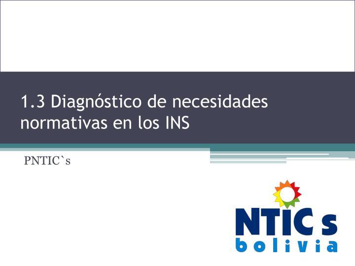 1.3 Diagnóstico de necesidades normativas en los INS
