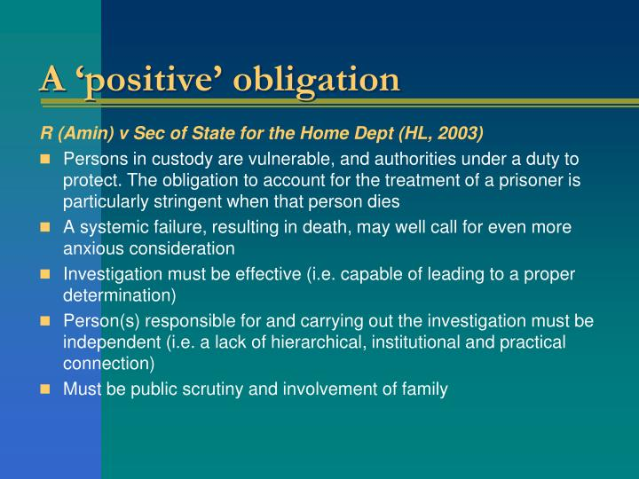 A 'positive' obligation
