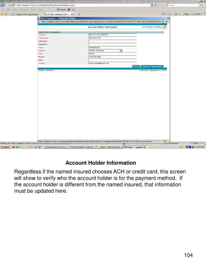 Account Holder Information