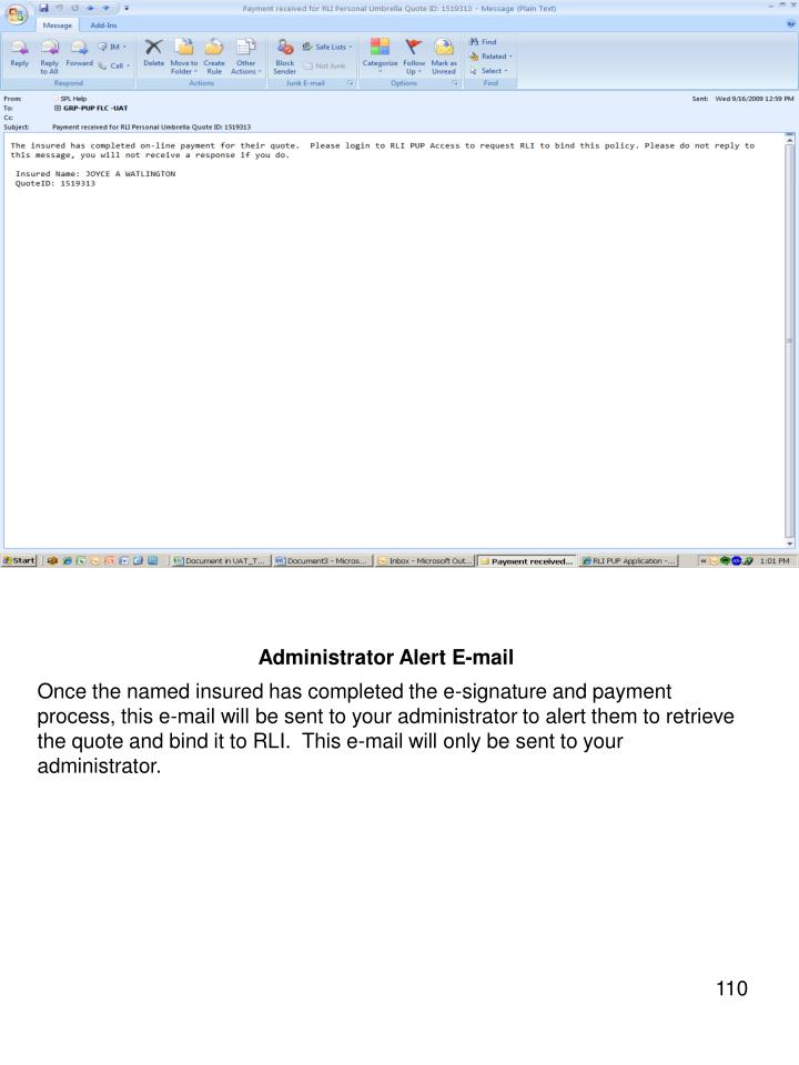 Administrator Alert E-mail