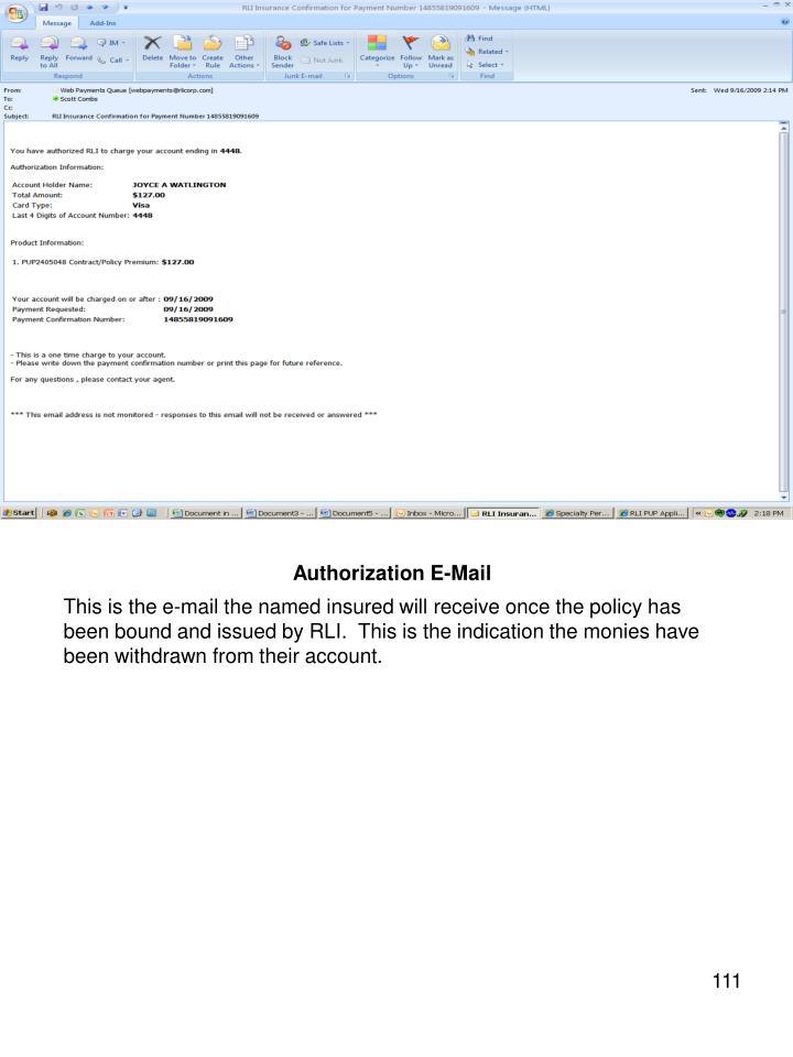 Authorization E-Mail