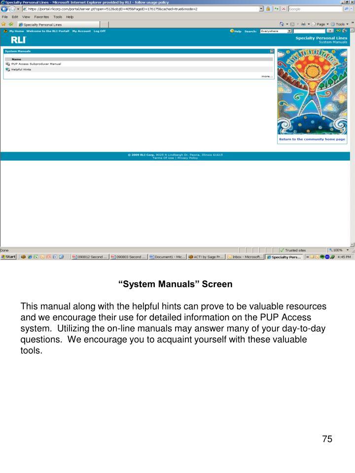 """System Manuals"" Screen"