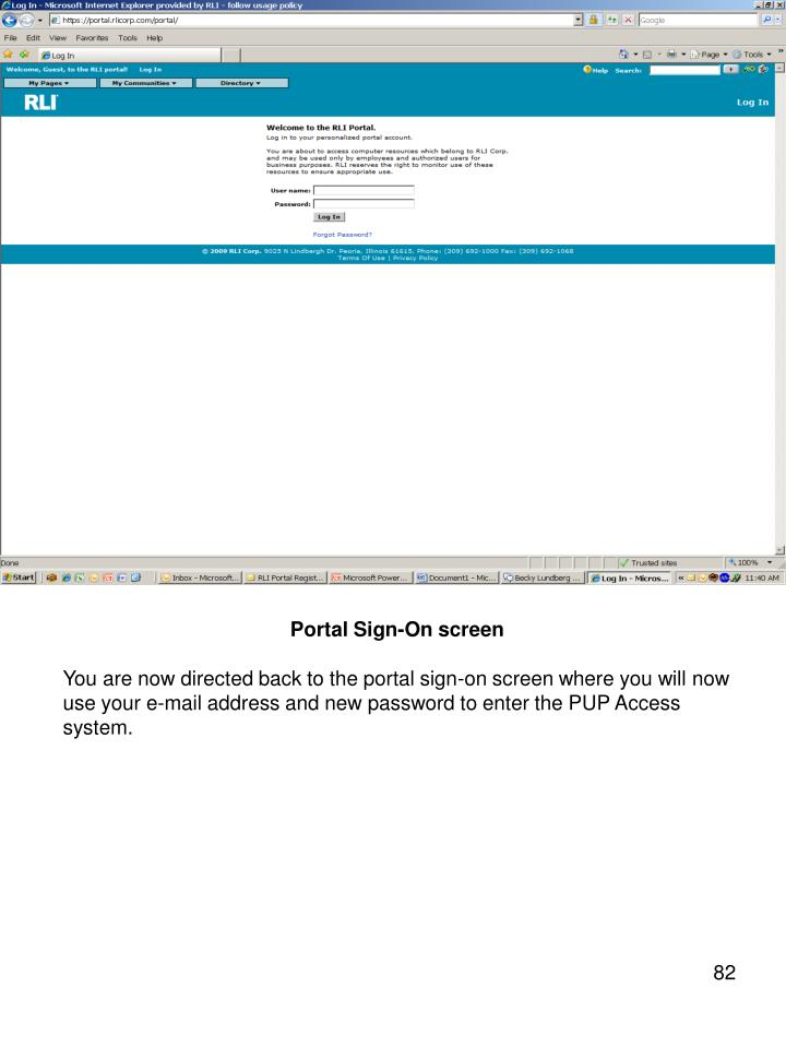 Portal Sign-On screen
