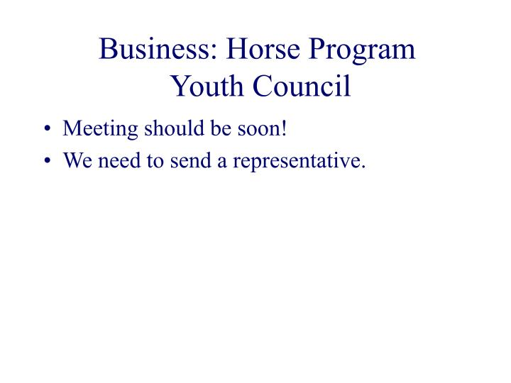 Business: Horse Program