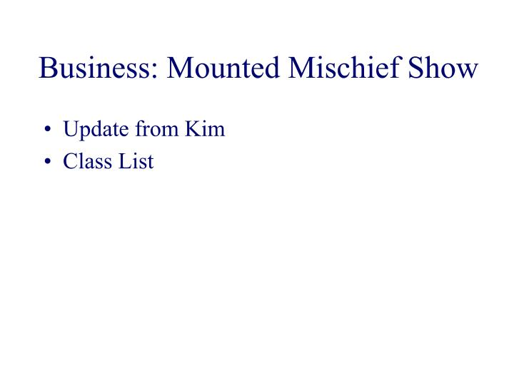 Business: Mounted Mischief Show