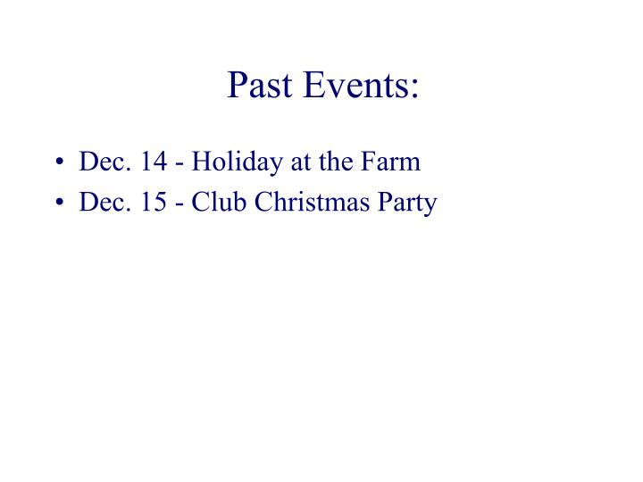 Past Events: