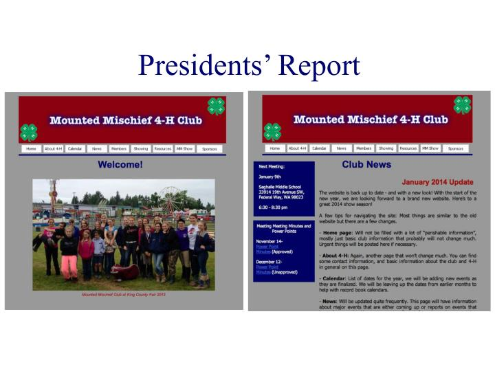 Presidents' Report