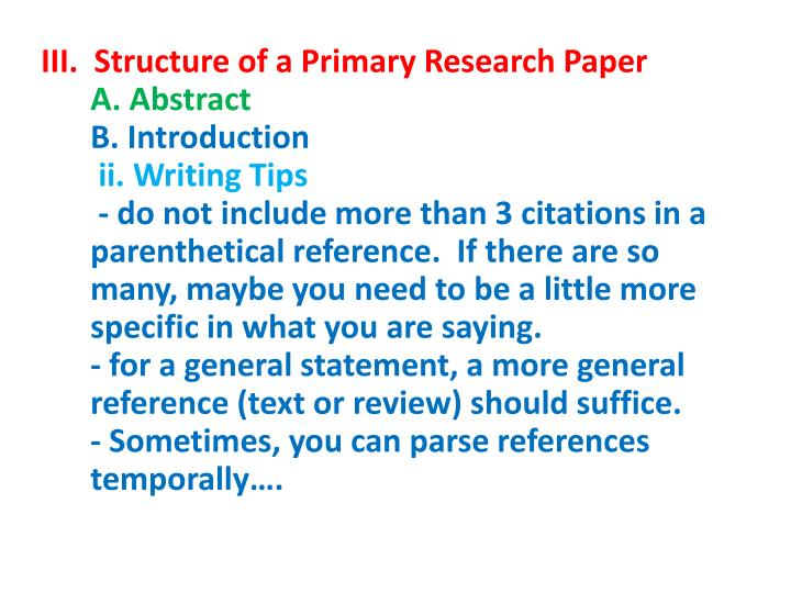III.  Structure of a Primary Research Paper