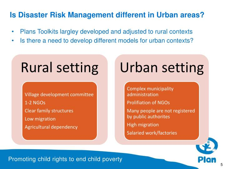 Is Disaster Risk Management different in Urban areas?